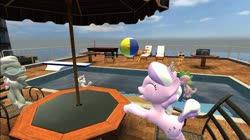 Size: 1024x575 | Tagged: safe, artist:undeadponysoldier, apple bloom, babs seed, diamond tiara, scootaloo, silver spoon, spike, sweetie belle, dragon, earth pony, pegasus, pony, unicorn, art pack:rooftop pool party, 3d, beach ball, chair, cute, cutie mark crusaders, diving board, female, filly, fun, gmod, happy, jewelry, laughing, male, new donk city, playing, pool party, pool table, radio, sleeping, super mario odyssey, swimming pool, tiara