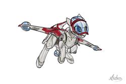 Size: 1500x1000   Tagged: safe, artist:andromailus, oc, object pony, original species, pony, spaceship ponies, gunship, simple background, spaceship, star wars, star wars: the clone wars, white background