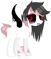 Size: 307x361 | Tagged: safe, artist:nurseghosty, oc, oc only, bandage, base used, black sclera, black tears, female, mare, nightmare fuel, pixel art, red eyes, simple background, solo, tentacles, transparent background