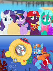 Size: 1080x1440 | Tagged: safe, artist:rainbow eevee edits, artist:徐詩珮, fizzlepop berrytwist, glitter drops, opalescence, rarity, spring rain, tempest shadow, twilight sparkle, alicorn, cat, unicorn, series:sprglitemplight diary, series:sprglitemplight life jacket days, series:springshadowdrops diary, series:springshadowdrops life jacket days, alternate universe, bisexual, broken horn, clothes, crying, cute, equestria girls outfit, female, glitterbetes, glitterlight, glittershadow, horn, lesbian, lifeguard, lifeguard spring rain, paw patrol, polyamory, shipping, snorkeling, sprglitemplight, springbetes, springdrops, springlight, springshadow, springshadowdrops, tempestbetes, tempestlight, twilight sparkle (alicorn)