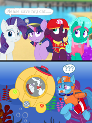 Size: 1080x1440 | Tagged: safe, artist:rainbow eevee edits, artist:徐詩珮, fizzlepop berrytwist, glitter drops, opalescence, rarity, spring rain, tempest shadow, twilight sparkle, alicorn, cat, unicorn, series:sprglitemplight diary, series:sprglitemplight life jacket days, series:springshadowdrops diary, series:springshadowdrops life jacket days, alternate universe, bisexual, broken horn, clothes, crying, cute, dialogue, equestria girls outfit, female, glitterbetes, glitterlight, glittershadow, horn, lesbian, lifeguard, lifeguard spring rain, paw patrol, polyamory, shipping, snorkeling, sprglitemplight, springbetes, springdrops, springlight, springshadow, springshadowdrops, tempestbetes, tempestlight, twilight sparkle (alicorn)