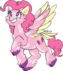 Size: 1078x1222 | Tagged: safe, artist:trinoids, pinkie pie, surprise, pony, cloven hooves, colored hooves, fusion, simple background, solo, tail feathers, transparent background, two toned wings, wings