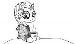 Size: 1280x765 | Tagged: safe, artist:ewoudcponies, starlight glimmer, pony, unicorn, clothes, coffee, hoodie, monochrome, mug, smiling, solo, traditional art