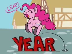 Size: 1800x1350   Tagged: safe, artist:flutterluv, pinkie pie, earth pony, pony, jumping, leap year, leaping, pun, solo, visual pun