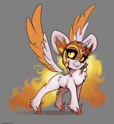 Size: 3000x3250   Tagged: safe, artist:skitsniga, daybreaker, alicorn, pony, big ears, chest fluff, chibi, female, floating wings, gray background, mare, simple background, solo, wings