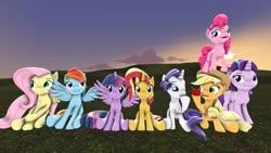 Size: 1280x720 | Tagged: safe, artist:starcrossedpony, applejack, fluttershy, pinkie pie, rainbow dash, rarity, starlight glimmer, sunset shimmer, twilight sparkle, alicorn, earth pony, pegasus, pony, unicorn, 3d, alternate mane seven, apple, food, jumping, mane six, revamped ponies, sitting, source filmmaker, twilight sparkle (alicorn)