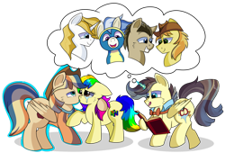 Size: 1280x871   Tagged: safe, artist:rainbowtashie, braeburn, doctor whooves, prince blueblood, time turner, wind waker (character), oc, oc:king righteous authority, oc:rainbow tashie, oc:spicy cider, alicorn, earth pony, pegasus, pony, unicorn, alicorn oc, book, bowtie, butt, clothes, collar, commissioner:bigonionbean, cowboy hat, crying, cutie mark, dawwww, fusion, fusion:king righteous authority, fusion:spicy cider, hat, jumpsuit, kissing, love, loving embrace, magic, male, nintendo 64, simple background, stallion, stetson, tears of joy, teary eyes, thought bubble, tongue out, transparent background, uniform, wonderbolts, wonderbolts uniform, writer:bigonionbean