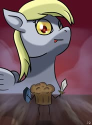 Size: 1024x1388 | Tagged: safe, artist:paw-of-darkness, derpy hooves, pegasus, fog, food, kitchen eyes, muffin, red eyes, tongue out
