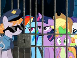 Size: 640x480 | Tagged: safe, artist:monicapixarfan2001, edit, vector edit, applejack, copper top, rainbow dash, rarity, spike, twilight sparkle, alicorn, dragon, earth pony, pegasus, pony, unicorn, cell, cuffs, female, jail, male, mare, prison, twilight sparkle (alicorn), vector
