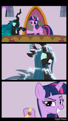 Size: 1288x2282   Tagged: safe, edit, edited screencap, editor:teren rogriss, screencap, pinkie pie, queen chrysalis, twilight sparkle, alicorn, changeling, changeling queen, pony, comic, electrocution, female, floppy ears, green eyes, grin, gritted teeth, hooves, horn, joy buzzer, mare, screencap comic, shocker, smiling, twilight sparkle (alicorn), wings