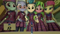 Size: 1920x1080 | Tagged: safe, artist:jeroen01, flash sentry, indigo zap, lemon zest, sour sweet, sugarcoat, sunny flare, human, equestria girls, 3d, clothes, crystal prep academy uniform, crystal prep shadowbolts, female, freckles, glasses, jacket, looking at each other, male, micro, plaid skirt, pleated skirt, requested art, school uniform, shadow five, size difference, skirt, smiling