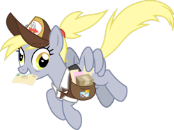 Size: 1280x959 | Tagged: safe, artist:cloudyglow, derpy hooves, pegasus, pony, the last problem, alternate hairstyle, bags under eyes, clothes, envelope, female, flying, future, hat, mailbag, mailmare, mailmare hat, mare, older, older derpy hooves, simple background, transparent background, vector