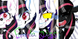 Size: 1080x544 | Tagged: safe, artist:highroller, artist:kao-chou, oc, oc only, oc:emala jiss, pegasus, pony, angry, collar, colored pupils, colored sclera, digital art, female, grin, heart eyes, mare, pegasus oc, scar, simple background, smiling, solo, spiked collar, teeth, wingding eyes