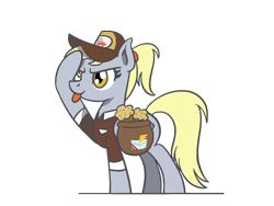 Size: 1800x1350 | Tagged: safe, artist:flutterluv, derpy hooves, pegasus, pony, bag, food, mailbag, mailmare, muffin, saddle bag, salute, simple background, solo, tongue out, transparent background