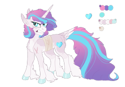 Size: 1413x983 | Tagged: safe, artist:koloredkat, princess flurry heart, bandage, chest fluff, clenched teeth, color palette, cutie mark, horn, leg fluff, missing limb, scar, simple background, tail feathers, transparent background