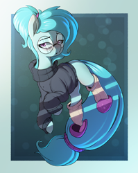 Size: 2194x2762 | Tagged: safe, artist:rexyseven, oc, oc only, oc:whispy slippers, earth pony, pony, abstract background, bags under eyes, blank flank, clothes, female, floating, glasses, lidded eyes, long tail, looking at you, mare, ponytail, slippers, socks, solo, sweater, tired, turtleneck