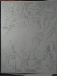 Size: 1944x2592   Tagged: safe, artist:princebluemoon3, oc, oc:rainbow tashie, oc:tommy the human, bear, earth pony, human, pony, ursa, ursa minor, comic:the chaos within us, black and white, canterlot, canterlot castle, chains, claws, clothes, collar, comic, commissioner:bigonionbean, cutie mark, dialogue, drawing, dream, fat, female, grayscale, huge ass, human oc, large ass, monochrome, muzzle, night, nightmare, paws, sad, scared, species swap, swelling, swollen, towel, traditional art, transformation, writer:bigonionbean