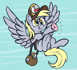 Size: 2172x1968 | Tagged: safe, artist:pirill, derpy hooves, pegasus, pony, abstract background, cheek fluff, clothes, ear fluff, envelope, female, flying, hat, mailbag, mailmare, mailmare hat, mare, package, smiling, solo, wings, wip