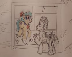 Size: 1730x1373 | Tagged: safe, artist:rapidsnap, coco pommel, flash sentry, cocosentry, crossover, female, male, shipping, song reference, straight, take on me, traditional art