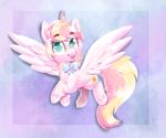 Size: 1313x1094 | Tagged: safe, artist:avui, oc, oc only, oc:ninny, pegasus, big eyes, bowtie, cute pony, female, pink, solo, tongue out, unshorn fetlocks