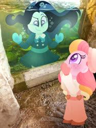 Size: 750x1000 | Tagged: safe, artist:carouselunique, oc, oc only, oc:dolly dusk, oc:honeycrisp blossom, equestria girls, aquarium, bubble, colored pupils, duo, equestria girls in real life, freckles, hat, irl, offspring, parent:big macintosh, parent:chancellor neighsay, parent:princess cadance, parent:sonata dusk, parents:cadmac, parents:neighsaynota, photo, suspenders, underwater