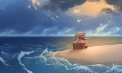 Size: 2362x1417   Tagged: safe, artist:katputze, oc, oc only, anthro, bird, crab, seagull, beach, ocean, solo