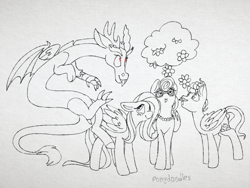 Size: 2048x1536 | Tagged: safe, artist:incendiaryboobs, discord, fluttershy, gentle breeze, posey shy, draconequus, pegasus, pony, :o, blushing, cloud, female, floppy ears, flower, implied discoshy, implied shipping, implied straight, lineart, looking up, male, mare, monochrome, neo noir, open mouth, partial color, red eyes, signature, sketch, smiling, stallion
