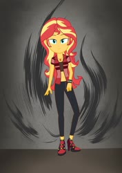 Size: 1280x1811 | Tagged: safe, artist:lms1872, sunset shimmer, equestria girls, belly button, boots, choker, clothes, female, geode of empathy, high heel boots, jacket, leather jacket, magical geodes, midriff, pants, shoes, short shirt, solo, spiked choker, spiked wristband, wristband