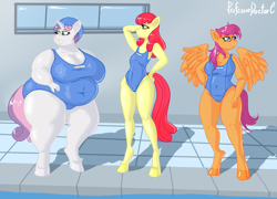 Size: 1200x863 | Tagged: safe, artist:professordoctorc, apple bloom, scootaloo, sweetie belle, anthro, unguligrade anthro, bbw, belly, belly button, big belly, big breasts, breasts, busty scootaloo, busty sweetie belle, clothes, cutie mark crusaders, delicious flat chest, diverse body types, fat, obese, older, older apple bloom, older cmc, older scootaloo, older sweetie belle, school swimsuit, spread wings, ssbbw, sweetie belly, swimming pool, swimsuit, wings