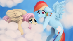 Size: 2560x1440 | Tagged: safe, artist:incendiaryboobs, fluttershy, rainbow dash, pegasus, pony, cloud, cowering, duo, duo female, encouragement, female, floppy ears, flying, goggles, grin, implied flutterdash, implied lesbian, implied shipping, looking at each other, mare, mood contrast, on a cloud, prone, sky, smiling, spread wings, wings