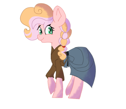 Size: 1200x1041 | Tagged: safe, artist:quillquacks, oc, oc only, oc:honeycrisp, earth pony, kindverse, offspring, parent:big macintosh, parent:cheerilee, parents:cheerimac, simple background, solo, transparent background