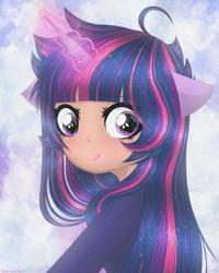 Size: 2819x3524 | Tagged: safe, artist:darkest-lunar-flower, twilight sparkle, human, anime, aura, cute, humanized, magic, pony ears, solo, telekinesis