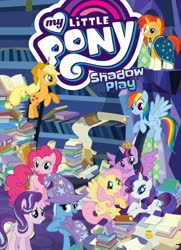 Size: 1400x1933 | Tagged: safe, idw, applejack, fluttershy, pinkie pie, rainbow dash, rarity, starlight glimmer, sunburst, trixie, twilight sparkle, alicorn, shadow play, book, ladder, library, mane six, my little pony logo, stock vector, twilight sparkle (alicorn), twilight's castle, twilight's castle library