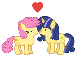 Size: 2732x2048   Tagged: safe, artist:turnaboutart, li'l cheese, oc, oc:sunlight sprout, earth pony, pony, unicorn, spoiler:s09e26, canon x oc, colt, eyes closed, female, filly, heart, imminent kissing, magical lesbian spawn, male, offspring, offspring shipping, parent:lemon hearts, parent:twilight sparkle, parents:lemonlight, simple background, straight, sunlightcheese, transparent background, young love