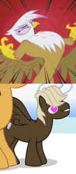 Size: 657x1497 | Tagged: safe, edit, edited screencap, screencap, dumbbell, gilda, hoops, griffon, pegasus, pony, griffon the brush off, sonic rainboom (episode), angry, cropped, female, gildabell, heart eyes, male, roar, shipping, stallion, straight, wingding eyes