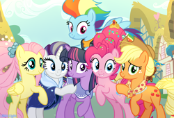 Size: 1566x1068 | Tagged: safe, artist:lilith1light, applejack, fluttershy, pinkie pie, rainbow dash, rarity, twilight sparkle, earth pony, pegasus, pony, unicorn, the last problem, spoiler:s09e26, alternate timeline, alternate universe, female, fixed, granny smith's shawl, mane six, mare, older, older applejack, older fluttershy, older mane 6, older pinkie pie, older rainbow dash, older rarity, older twilight, unicorn twilight