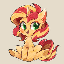 Size: 640x640 | Tagged: safe, artist:sibashen, sunset shimmer, pony, unicorn, chest fluff, chibi, cute, ear fluff, female, looking at you, mare, obtrusive watermark, shimmerbetes, sitting, smiling, solo, tan background, underhoof, watermark