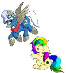 Size: 1280x1408 | Tagged: safe, artist:rainbowtashie, caboose, silver lining, silver zoom, oc, oc:air brakes, oc:rainbow tashie, earth pony, pegasus, clothes, commissioner:bigonionbean, conductor hat, cutie mark, flying, fusion, fusion:air brakes, goggles, laughing, nintendo 64, scarf, simple background, transparent background, uniform, wonderbolts uniform, writer:bigonionbean