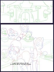 Size: 6000x8000 | Tagged: safe, artist:chedx, cookie crumbles, mane allgood, stellar flare, stormy flare, earth pony, pegasus, pony, unicorn, comic:the other granparents, baking, carousel boutique, clothes, comic, commissioner:bigonionbean, cooking, dialogue, female, kitchen, magic, mare, sketch, sketch dump, stove, table, writer:bigonionbean