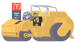 Size: 2150x1200 | Tagged: safe, artist:threetwotwo32232, oc, oc:nootaz, human, pony, unicorn, dio brando, female, jojo's bizarre adventure, mare, mcdonald's, simple background, steam roller, transparent background