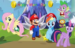 Size: 2419x1558 | Tagged: safe, artist:aimeelovesu, artist:amgiwolf, artist:andoanimalia, artist:dashiesparkle, artist:estories, artist:sapphireartemis, artist:user15432, fluttershy, rainbow dash, spike, twilight sparkle, alicorn, dragon, fairy, human, pegasus, pony, 1-up mushroom, cap, coin, crossover, fairy wings, fire flower, glowing horn, hat, horn, maridash, mario, mario's hat, marioshy, mushroom, nintendo, ponyville, super mario bros., super mushroom, super star, twilight sparkle (alicorn), twilight's castle, winged spike, wings