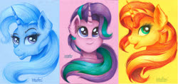 Size: 4908x2335 | Tagged: safe, artist:victoria-luna, starlight glimmer, sunset shimmer, trixie, pony, unicorn, bust, ear fluff, female, high res, mare, portrait, traditional art, trio