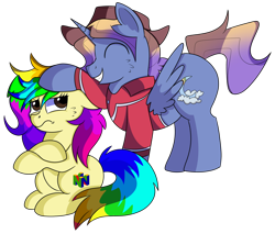 Size: 1280x1091 | Tagged: safe, artist:rainbowtashie, bow hothoof, gentle breeze, igneous rock pie, night light, oc, oc:aerial agriculture, oc:rainbow tashie, alicorn, earth pony, alicorn oc, clothes, commissioner:bigonionbean, female, fusion, fusion:aerial agriculture, hat, male, mare, ruffled hair, simple background, stallion, transparent background, writer:bigonionbean