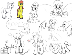 Size: 1300x1000   Tagged: safe, artist:redquoz, big macintosh, derpy hooves, oc, earth pony, gardevoir, pony, totodile, unicorn, backpack, belly, blank flank, cheek squish, ear fluff, earth pony oc, female, food, hat, horn, male, mare, muffin, nope, pigtails, pokémon, ponytail, reading, sketch, sketch dump, squishy cheeks, stallion, tangled up, underp, unicorn oc, vr goggles, wizard, wizard hat, wizard robe