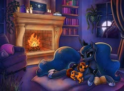Size: 1280x949 | Tagged: safe, artist:pitchyy, princess luna, oc, oc:fireheart, alicorn, pegasus, pony, book, bookshelf, candle, commission, couch, cushion, duo, ethereal mane, female, fireplace, house plant, jewelry, mare, moon, pillow, regalia, smiling, snuggling