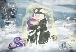 Size: 2953x2030 | Tagged: safe, artist:moonlightstrange, oc, oc only, pony, unicorn, blizzard, crossover, duo, frostpunk, sad, snow, snowfall, winter