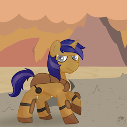 Size: 3000x3000   Tagged: safe, artist:sketchthewitch, oc, oc:lunar spice, unicorn, fallout equestria, leather armor, pnp character, wasteland