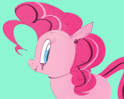 Size: 1134x910 | Tagged: safe, artist:hattsy, pinkie pie, earth pony, pony, ear piercing, earring, eyeliner, female, goth, gothic pinkie, jewelry, looking back, makeup, mare, open mouth, piercing, smiling, solo