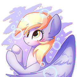 Size: 800x800 | Tagged: safe, artist:dddreamdraw, derpy hooves, pegasus, pony, blushing, bubble, bust, cute, derpabetes, ear fluff, female, heart, mare, partial background, simple background, solo, spread wings, stars, transparent background, wings