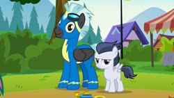 Size: 1280x720 | Tagged: safe, screencap, rumble, thunderlane, pegasus, pony, marks and recreation, brothers, clothes, colt, goggles, male, siblings, stallion, uniform, wonderbolt trainee uniform, wonderbolts, wonderbolts uniform